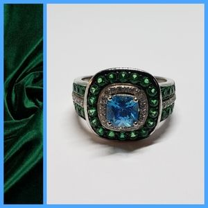 Blue & Green Crystalline. 925 SS Ring